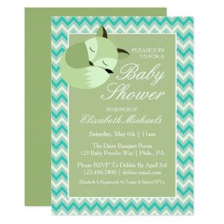 Fox verde de la fiesta de bienvenida al bebé invitación 12,7 x 17,8 cm