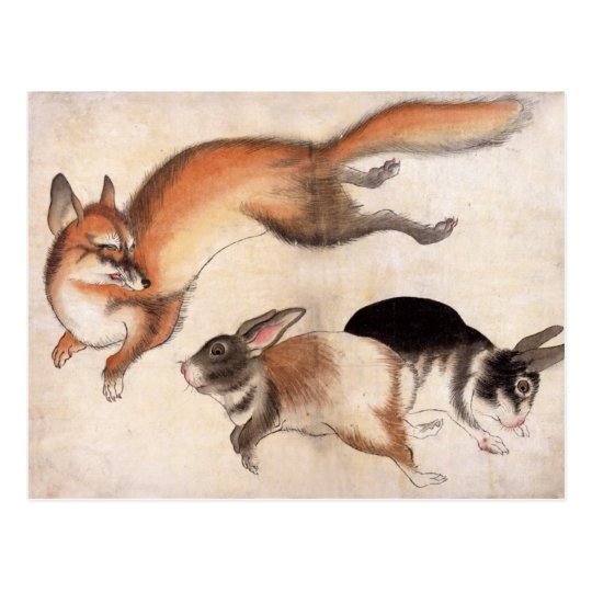 Fox y dos liebres, pintura japonesa del vintage postal