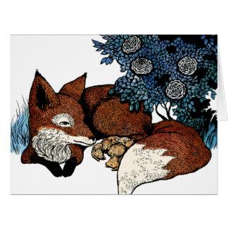 Fox y sus cachorros - tarjeta de felicitación