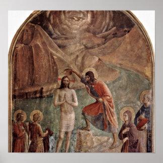 Fra Angelico - bautismo de Cristo de Juan Póster