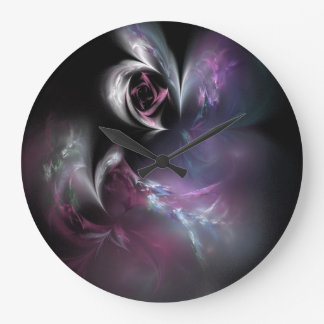 Fractal color de rosa rosado bonito reloj redondo grande