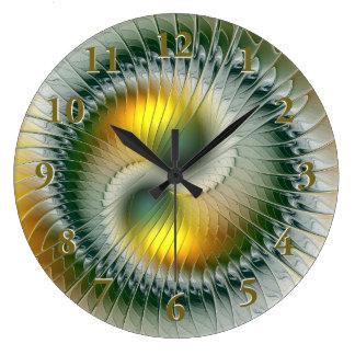 Fractal colorido abstracto amarillo verde de Yin Reloj Redondo Grande