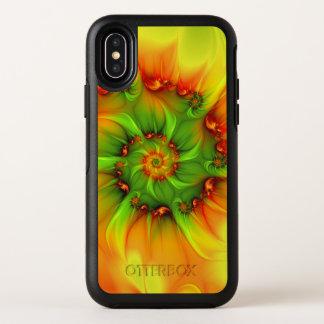 Fractal colorido abstracto anaranjado del verde