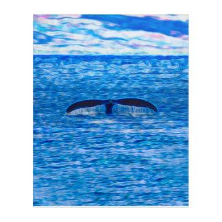 Fractal de la cola de la ballena azul y rosado impresión acrílica