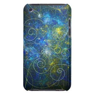 Fractal de Swirly del azul y del oro iPod Case-Mate Fundas