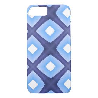 Fractal geométrico azul marino azul claro blanco funda iPhone 7