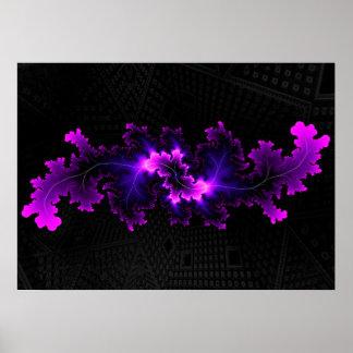 Fractal púrpura con el fondo del fractal 3D Póster