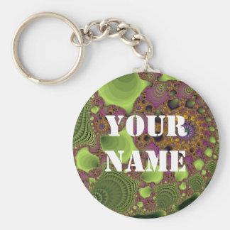 Fractal púrpura verde llavero redondo tipo chapa