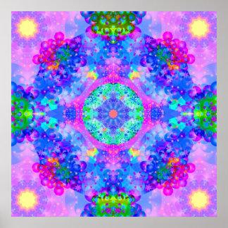 Fractal púrpura y verde del caleidoscopio póster