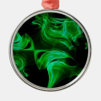 Fractal verde del satén adorno de cerámica