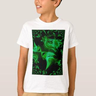Fractal verde del satén camiseta