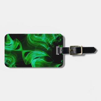 Fractal verde del satén etiqueta para maletas