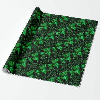 Fractal verde del satén papel de regalo