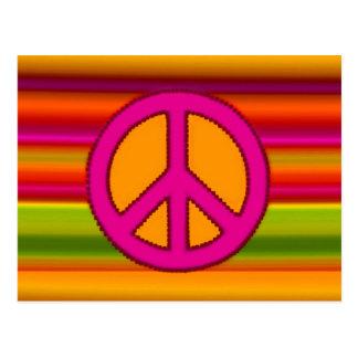 Fractal y signo de la paz anaranjados rosados postal