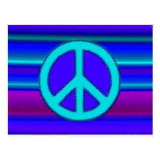 Fractal y signo de la paz azules postal