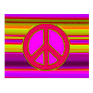 Fractal y signo de la paz rosados rojos postal