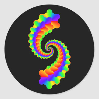 Fractales coloridos simples pegatina redonda