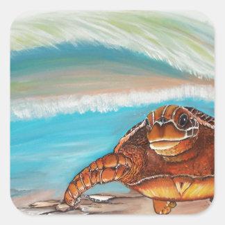 Fractura de la tortuga de mar del escudo del agua pegatina cuadrada