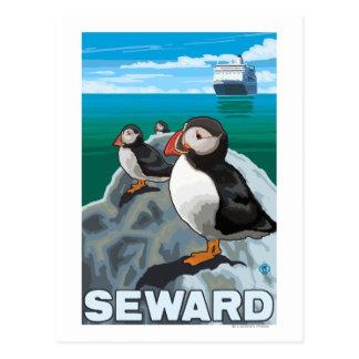 Frailecillos y barco de cruceros - Seward, Alaska Postal
