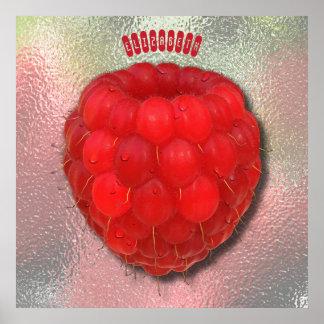Frambuesa fresca roja con el dibujo de los póster