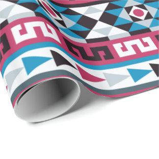 Frambuesa y azul étnicos aztecas de moda del papel de regalo