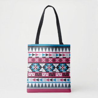 Frambuesa y modelo geométrico azteca azul bolsa de tela