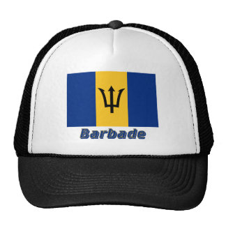 Français de Drapeau Barbade avec le nom en Gorro De Camionero