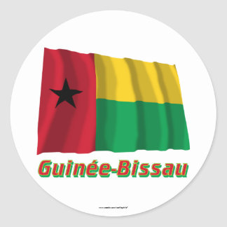 Français de Drapeau Guinée-Bissau avec le nom en Pegatina Redonda