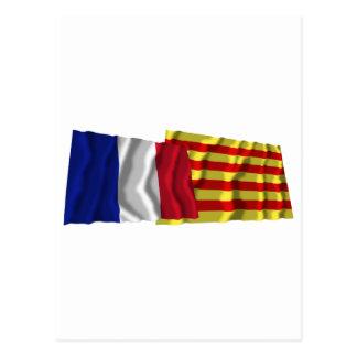 France & Pyrénées-Orientales waving flags Post Cards