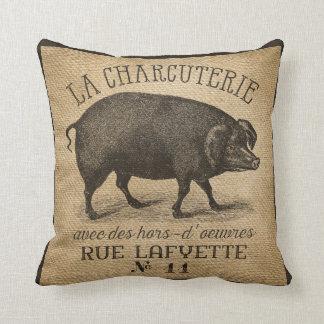 Francés de la arpillera del vintage del cerdo del cojín