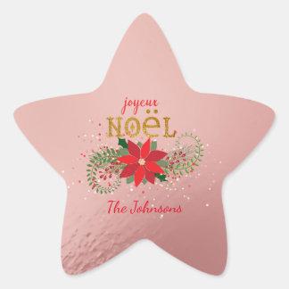 Francés del rosa de la estrella de Joyeux Noel de Pegatina En Forma De Estrella