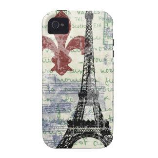 Francés del vintage de la torre Eiffel iPhone 4 Funda