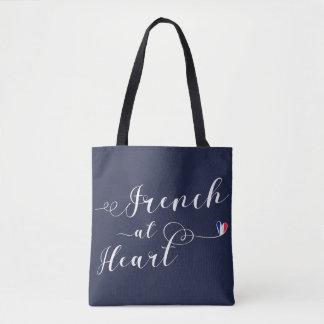 Francés en el bolso de ultramarinos del corazón, bolsa de tela