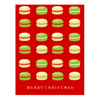 Francés rojo Macarons del navidad verde y blanco Postal