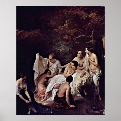 Francesco Hayez - baño de las ninfas Poster