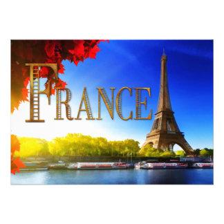 Francia en el Sena con la torre Eiffel Invitaciones Personales