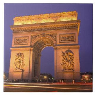 Francia, París, Arco del Triunfo en la oscuridad Azulejo Cerámica