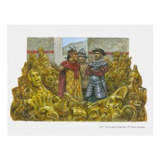 Francisco Pizarro al lado del emperador Atahualpa Postal