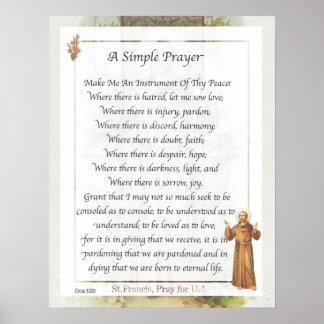 Franciscos de Asís del santo un REZO SIMPLE Póster