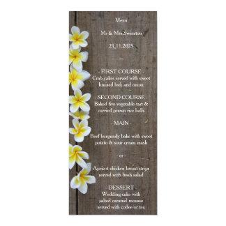 Frangipani del boda de playa/menú rústico del invitación 10,1 x 23,5 cm