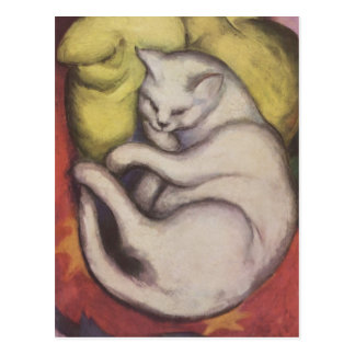 Franz Marc - gato en un amortiguador amarillo Postal