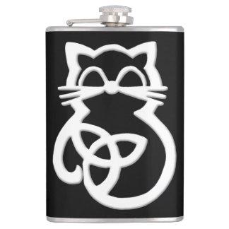 Frasco céltico del gato del nudo blanco de la petaca