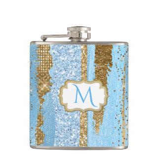 Frasco con monograma de lujo del azul y del oro petaca