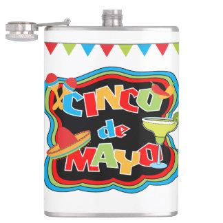 Frasco de la tipografía de Cinco de Mayo Petaca