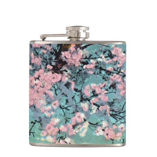 Frasco de las flores de cerezo petaca