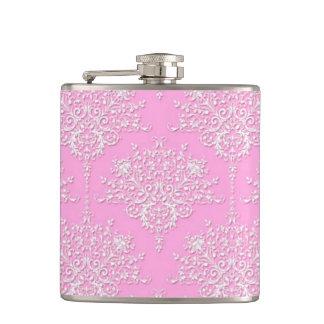 Frasco rosado elegante del damasco floral femenino petaca
