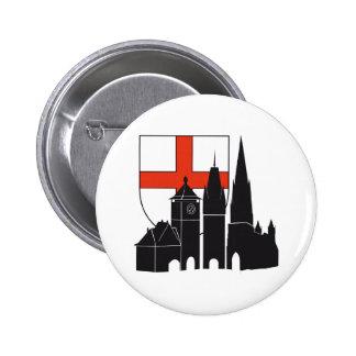 Freiburg silueta con escudos de armas chapa redonda de 5 cm