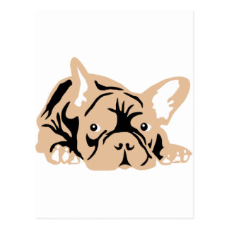 French Bulldog rose Postal