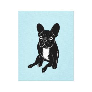 Frenchie brindle lindo en arte digital negro y