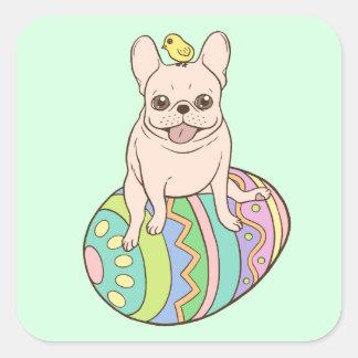 Frenchie y polluelo de Pascua en el huevo de Pegatina Cuadrada